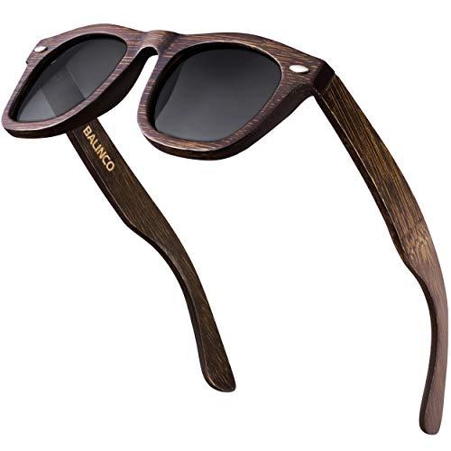 Balinco® Bambus Sonnenbrille - mit polarisierten TAC-Gläsern und UV-Schutz - für ein intensives Sehvermögen - nachhaltig, langlebig, bruchfest - im praktischen Set inkl. Geschenkbox