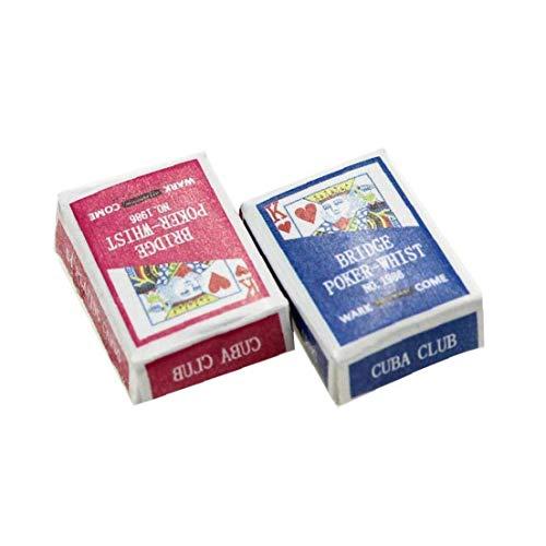 1 Juego Mini Naipes Juegos de Poker Naipes 1/12 Miniatura de muñecas de Juguete decoración del Dollhouse Accesorios Color al Azar