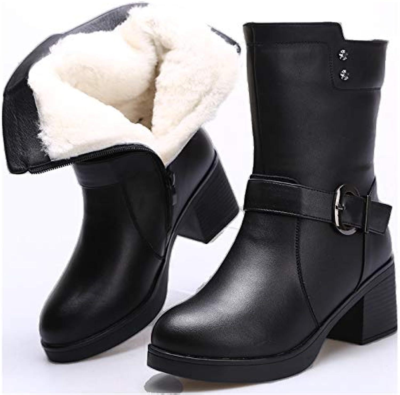 HOESCZS Damenschuhe Winter Damen Stiefel Baumwolle Schuhe Winter Winter Winter Warm Head Layer Pu Inside B07JKJ6B17  Bekannt für seine gute Qualität ed524a