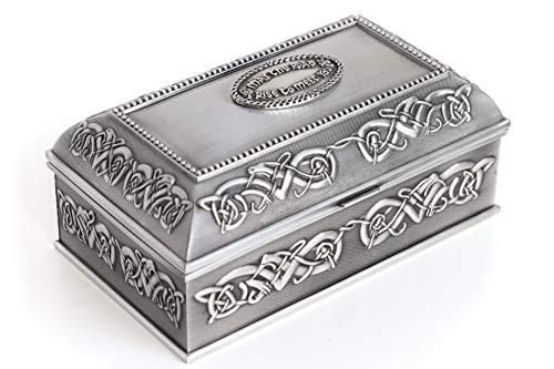 Irish Wedding Gift Celtic Jewelry Box Square Large May the Road Rise Irish Blessing Pewter Made in Ireland