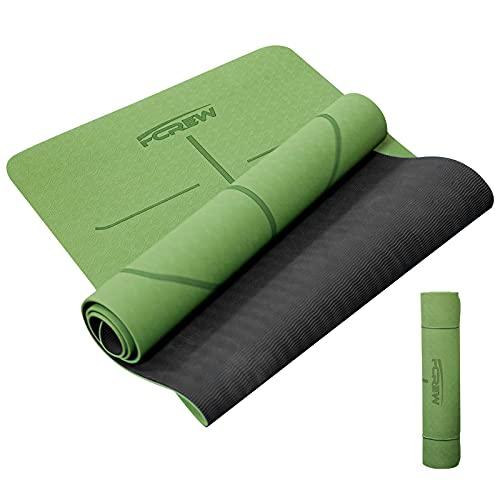 FCREW Esterilla de yoga TPE, esterilla yoga, gimnasia, deporte, antideslizante para gimnasia caucho natural, fitness, pilates, con correa transporte, 183 x 61 0,6 cm (verde)