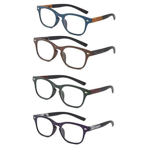 Leesbril met houtnerf Retro Harslens Verziendheid Verziend brillen voor dames heren Presbyopie Unisex bril voor ouders cadeau (4 stuks),+ 1.5
