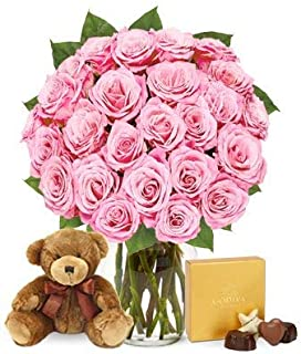 Flowers - Two Dozen Pink Roses with Chocolates and a Bear (Free Vase Included)