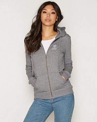 Franklin and Marshall - Sudadera para mujer con cremallera y capucha, color gris, talla XL