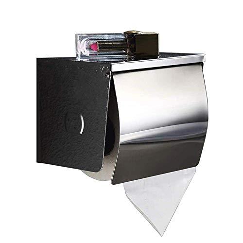 WLA Soporte para soporte de rollo, soporte de papel higiénico, acero inoxidable papel toalla de toalla montaje en pared perforante impermeable con almacenamiento móvil estante baño baño titular de pap