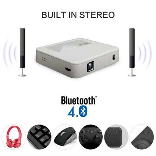 LightInTheBox 1500Lumens Android 4.4 DLP WiFi Bluetooth Portable Smart Projector Dual Band WiFi 2.4G/5G