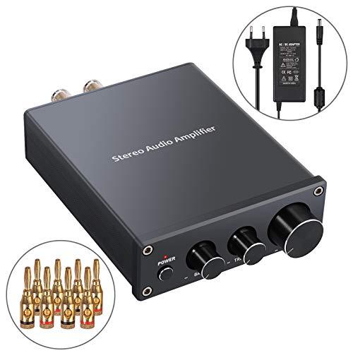 PROZOR Stereo Audio Verstärker 2 Kanal Mini Hi-Fi Class D Integrierter Verstärker Digitaler Leistungsverstärker mit Bass- und Höhenregelung für Heimlautsprecher 50W + 50W