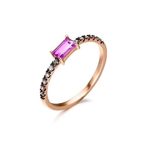 Anillo de aro plano con Topacio Rosa (3x5 mm) y diamantes Brown (0,096 quilates), fabricado en Oro Rosa 18kt, de LECARRÉ JOYAS.
