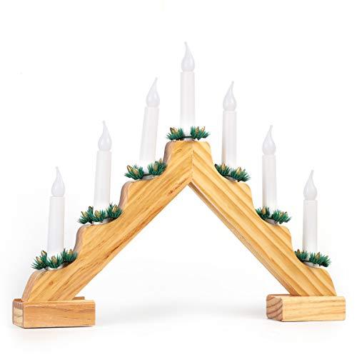 Salcar - Candelabro de Adviento LED con 7 velas, arco de mad