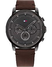 Tommy Hilfiger Reloj Analógico para Hombre de Cuarzo con Correa en Piel de Becerro de Cuero 01791799