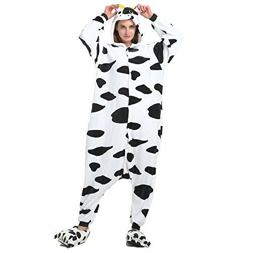 JXILY Tier Kostüm Einteiliger, Damen Schlafanzug, Einteilige Pyjama-Kuh des Cartoon-tieres Bequem Warm Overall mit Kapuze Home Service Anzug,Cows,95/110