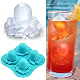 YiilsSilicone 4 Grids Octopus Pattern Frozen Ice Cube Trays Jerry DIY Mold Maker - Blue