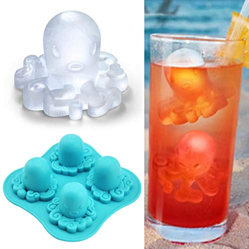 YiilsSilicone 4 Grids Octopus Pattern Frozen Ice Cube Trays Jerry DIY Mold Maker – Blue