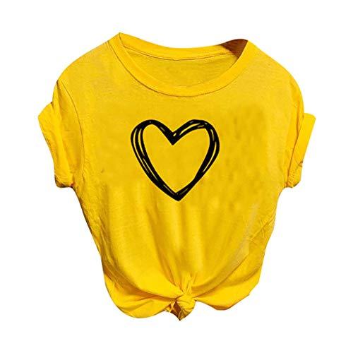 T Shirt Femme Casual col en O Manche Courte Tee Shirt Femme Sexy Ete Solide Ample Tunique Tee Shirt Hauts à Tee T-Shirt Blouse Lâche Top Femme Vêtements COVERMASON(Jaune,L)