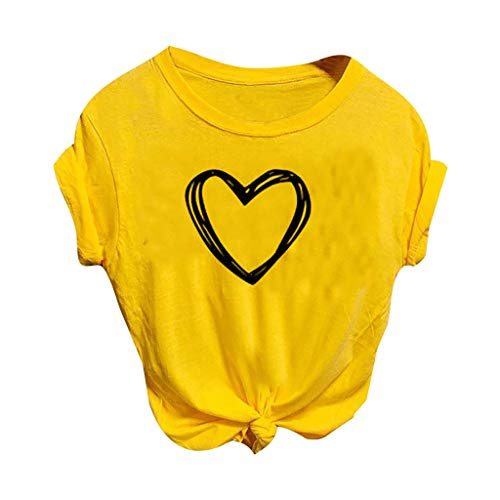 haoricu Women Love Graphic Tees Round Neck Short Sleeve Baseball T-Shirt Tops Summer Loose Blouse Top Yellow