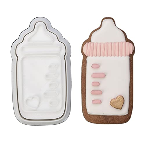 Mostop 3D Cookie Cutter with Baby Bottle Stampers Baby Shower Cake Mold Fondant Decorating Tools DIY Mold for Sugar Craft Baking Mould Kids' Birthday Party Kitchen Tools