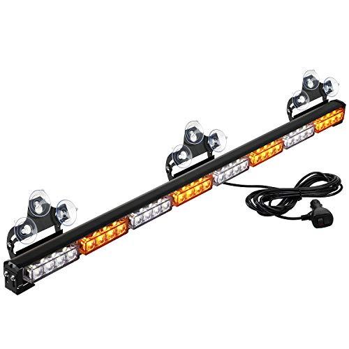 ASPL 36' 32LED Traffic Advisor Light Bar Warning Emergency Strobe Light Bar Directional Flashing Emergency Caution Lighting Led Safety Lights With 16 ft Straight Cord (Amber/White)