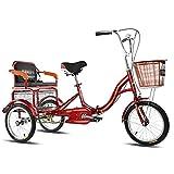 LICHUXIN Triciclo Ruedas 16 Pulgadas con Asiento Respaldo Triciclo Adultos Una Sola Velocidad con Cestas para Adultos Personas Mayores Compras Cruise (Color : Red)
