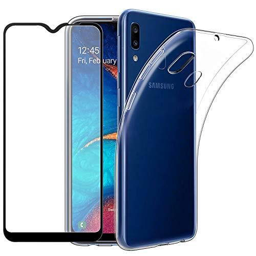 EasyAcc Hülle + Panzerglas für Samsung Galaxy A20e, 9H Schutzfolie + Crystal Clear Case Transparent Handyhülle Cover Soft TPU Durchsichtige Schutzhülle Für Samsung Galaxy A20e
