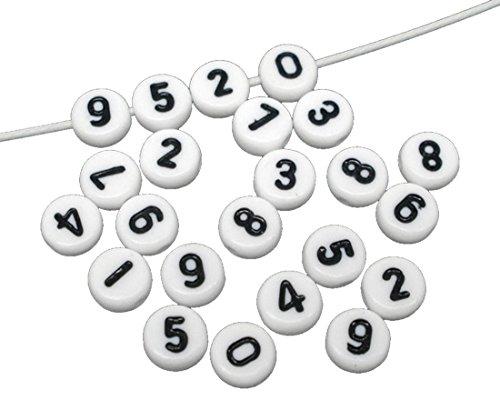 Sadingo Cuentas redondas con números (500 unidades, 7 mm), color blanco con texto en negro