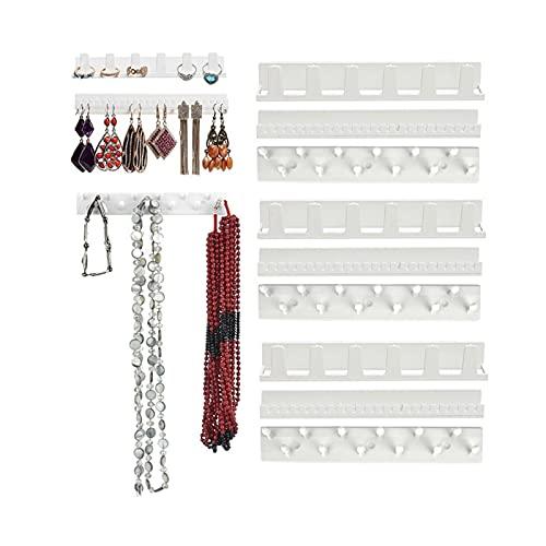 Soporte de exhibición 1 juego 9 en 1 adhesiva pared cuelgan la joyería del estante de los anillos pendientes del collar de llaves del soporte de exhibición del estante del estante organizador pegajoso