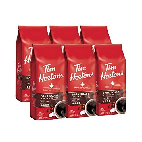 Tim Hortons Dark Roast, Rich Ground Coffee, Perfectly Balanced, Always Smooth, Made with 100% Arabica Beans, 72 Ounce (6 x 12 oz Bags)