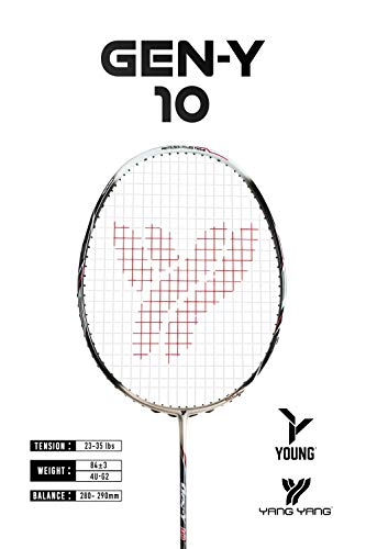 YANG-YANG Professional Series Lightweight High Modulus Graphite Badminton Racket (Vital Material for Strength&Shock Absorption reducing Muscle Injury) w/Carrying Bag (Strung, Intermediate: GY-10)