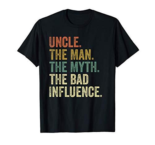 Mens Vintage Fun Uncle Man Myth Bad Influence Funny T-shirt. T-Shirt
