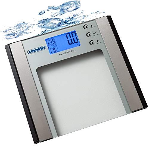 Digitale Körperfettwaage | 12 Personen Speicher | BMI Messung | Körperwaage | Personenwaage | Körperanalysewaage | LCD-Display | 6 mm Sicherheitsglas | Digitalwaage (Edelstahl)