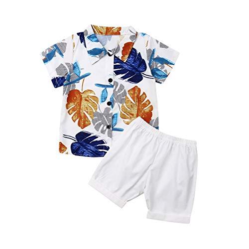 Bebé Niño Traje de 2 Piezas Conjunto Top Camisa de Manga Corta Pantalón Corto Camiseta con Estampado Infantil Ropa Verano de Playa para Vacaciones (Hojas-Blanco, 4-5 Años)