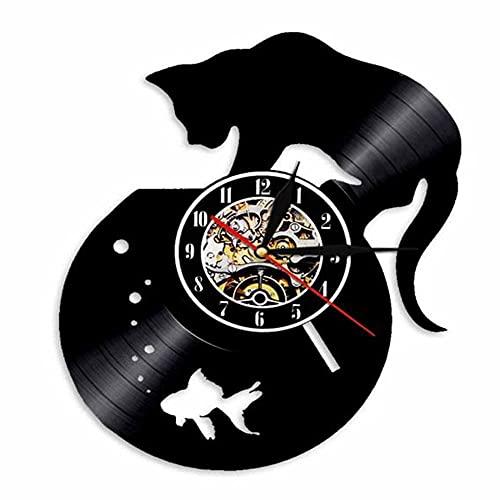Gbrand Gramófono Registro Reloj de Colgante Reloj de Pared de Vinilo Creativo Retro nostálgico Cat de Pared Reloj Colgante Reloj LED Luz de luz de Pared Reloj de Pared-con led