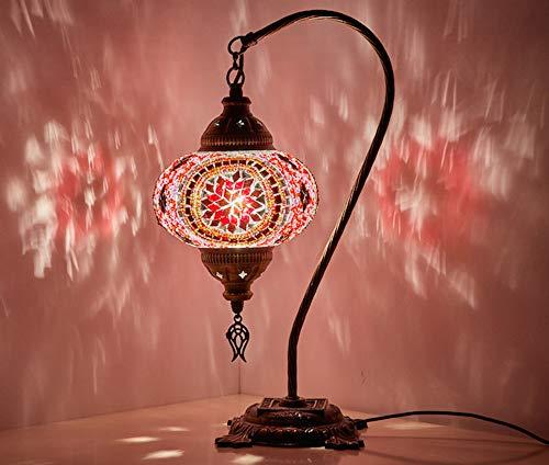 Demmex 2019 Turco Marroquí Mosaico Mesita Noche Tiffany Lámpara de noche para uso en Estados Unidos, Rosa