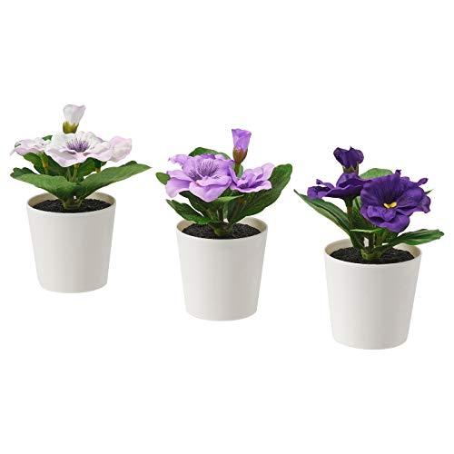 Ikea FEJKA - Plantas de Escritorio Artificiales en macetas, Color Morado, 6 cm, 3 Unidades
