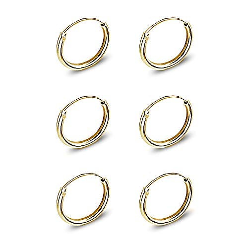 Set of 3 Gold Flash Sterling Silver Small Endless 10mm Thin Round Cartilage Hoop Earrings for Women Men