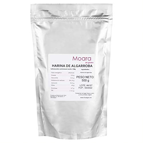 Harina de algarroba sin gluten ecológica, sustituto ideal del chocolate y el cacao - Algarrobo en polvo natural, producto vegano BIO (500g)