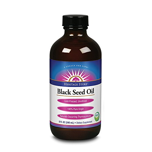 Heritage Store Black Seed Oil | 100% Pure Virgin, Certified Organic, Cold Pressed, Unrefined | Supports Hair, Skin & More | 8 fl oz