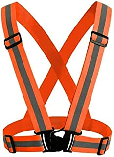 Rag & Sak® Reflective Vest Fluorescent with High Visibility Bands Tape Multi-Purpose Adjustable Elastic Safety Belt for Ni...