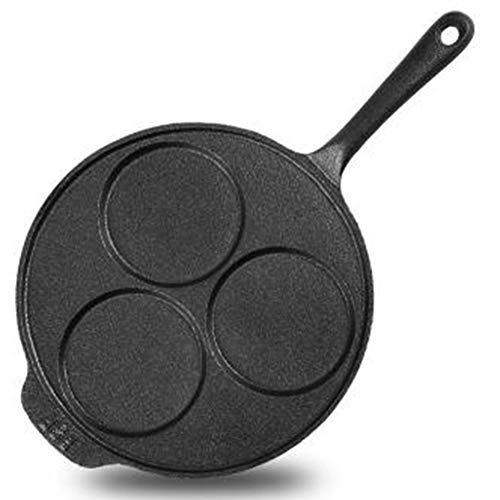 OOFAT Creperas Hierro Fundido Pancake Pan con Mango De Madera De 23 Cm, Antiadherente...