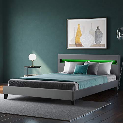 ZOEON Polsterbett 140 x 200 cm - Bettgestell mit LED Beleuchtung - Lattenrost & Kopfteil - Kunstleder Bezug & Holz Gestell - Einzelbett Jugendbett (Grau)