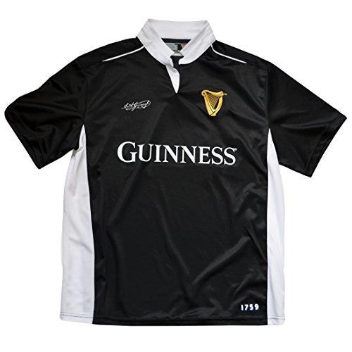 Guinness Maillot de rugby à manches courtes Noir/blanc - Noir - Medium