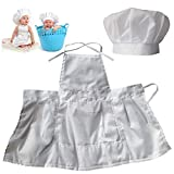 Lightbird Infant Baby Chef Apron Set Photography Props, Chef Unisex Baby Uniform Costume Photo Props Outfits