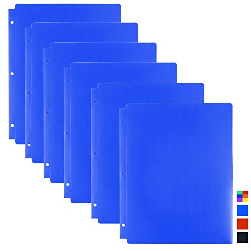 Dunwell Blue Plastic Binder Folders - (6 Pack), 3-Hole Punched Poly Folders with Pockets. 3-Ring Folders with Pockets, 2-Pockt Folder for School, Work, Home, Letter Sized (not A4), Removable Labels