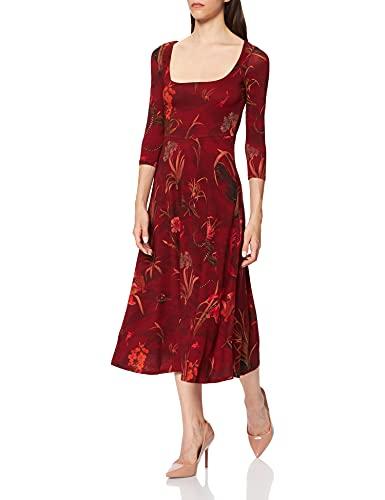Desigual Vest_Flowers Abito Casual, Colore: Rosso, XL Donna