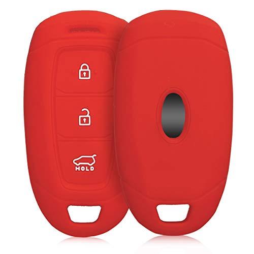 kwmobile Funda de Silicona Compatible con Hyundai Kia Llave de Coche Keyless Go de 3 Botones - Carcasa Suave de Silicona - Case Mando de Auto Rojo