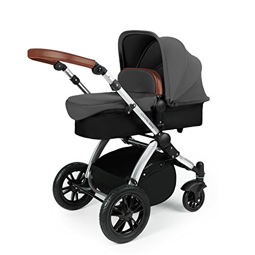 Ickle Bubba Stomp V3 All-in-One Baby Reisesystem mit Isofix Basis - Graphit auf Silber Gestell