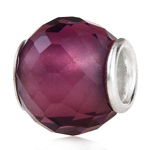Abalorio de plata de ley 925 de Murano Lampwork de cristal de piedra natal encanto de cumpleaños encanto aniversario para pulsera Pandora … (morado oscuro)