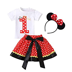 Newborn Baby Girls 1st / 2nd / 3rd Birthday Outfit Short Sleeve Cotton Tops T-Shirt+Polka Dots Bowknot Tutu Skirt+Minnie Mouse Ear Headband Cake Smash Costume Photo Shoot Props Red 1 1 Years