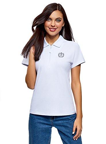 oodji Ultra Damen Poloshirt mit Reißverschluss und Stickerei, Weiß, DE 40 / EU 42 / L