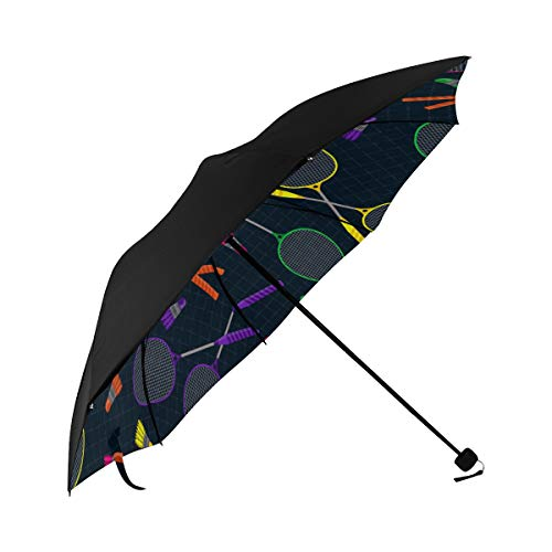 Badminton Racket Entertainment Motion Compact Travel Umbrella Sun Parasol Anti Uv Foldable Umbrellas(underside Printing) As Best Present For Women Sun Uv Protection