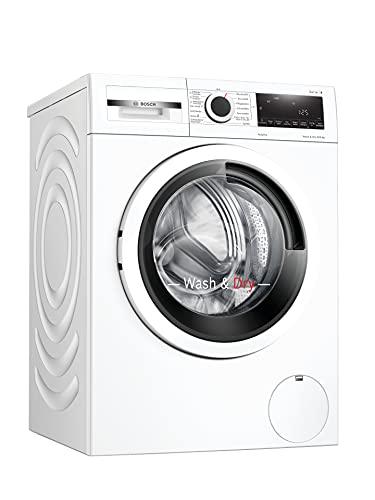 Bosch WNA13440 Serie 4 Waschtrockner / E / 376 kWh/100 Betriebszyklen (Waschen & Trocknen) / 8/5 kg / 1400 UpM / Weiß mit Glastür / AutoDry / Sportswear / SpeedPerfect